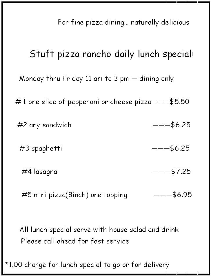 LUNCH SPECIAL MENU